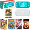 Nintendo Lite Switch Turquoise 7-Piece Bundle with 4-Games & $50 Nintendo Card