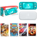 Nintendo Lite Switch Turquoise 7-Piece Bundle with 4-Games