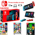 Nintendo Switch with Neon Blue and Neon Red Joy-Con with 3 Games