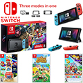 Nintendo Switch Bundle with Mario Kart 8 Deluxe - Neon Red/Blue with 3 Games