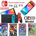 Nintendo Switch (OLED model) 64GB Console - Neon Red & Neon Blue Joy-Con Bundled w/ 4 Kids Games