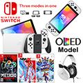 Nintendo Switch (OLED model) 64GB Console - White Joy-Con Bundled w/ Turtle Beach Headset & 3 Games