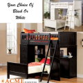 Choice Of Black Or White Casual Twin Loft Bed Complete With Twin Bed, Drawers, Desk & Storage Shelf