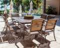 Palladio 10PC Dining Set Featuring A Large Firepit Party Table In An All Cast Aluminum
