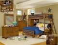 Spiced Brown Twin/Full Student Loft Bed Complete With Loft Chest, Bookcase & Ladder