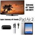 "Apple/Samsung 4PC Bdl Samsung 40"" Smart LED HDTV,Apple 64GB iPadAir2 W/Touch ID,Apple TV & HDMI"