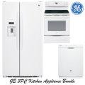GE 3-Piece White Kitchen Appliance Package-Refrigerator, Range & Dishwasher