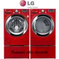 Bundle Up & Save W/LG Laundry Center Featuring Red Front Load Steam Washer & Red Electric SteamDryer