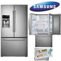 Samsung 28CF French Door Bottom-Freezer Refrigerator In Stainless Steel Featuring Food Showcase Door