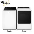 Whirlpool Cabrio 5.3 CF HE Top Loading Washer & Electric 8.8 CF Dryer Bundle-Available In White