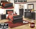 "Bundle Up With A FREE 20"" LED HDTV,  7-PC Package Featuring Your Choice Of Twin Or Full Sleigh Bed"