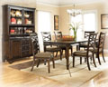 Complete 9-PC Dining Package Featuring Stylish Contemporary Design In A Beautiful Dark Brown Finish
