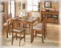 Counter Height 8-PC Set W/Rustic Design In Warm Brown Finish W/Inset Textured Faux Slate Tiles