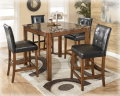 Faux Marble Table Top &amp; Faux Leather Chairs Create This Rich Contemporary 5-PC Counter Height Set