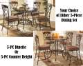 Your Choice Of Either 5-PC Dinette Or 5-PC Counter Height Featuring Scrolling Traditional Design