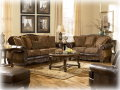 Old World Style Defines This 3PC Pkg Combining Blended Leather W/Beautifully Detailed Upholstery