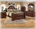 Old World Beauty Is This 7-PC Bedroom Pkg W/Dark Red Finish & Mansion Scaled Footboard Storage Bed