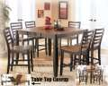 Relaxing Two-Tone Brown Finish Counter Height 7PC Dining Package With 18