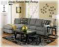 Great Value W/This 7PC Package Featuring Contemporary Charcoal Sectional & Cocktail Table W/2-Stools