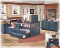 Replicated Blue Paint Finish Cottage Design 7-Piece Bedroom Package Featuring Trundle Bed W/Storage