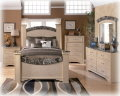 Grand Traditional Design 7PC Bedroom Pkg W/Mansion Sealed PosterBed, Faux Marble & Warm Blond Finish