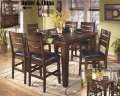 Classic Planked Pub Table Top W/6-Chairs Butterfly Leaf Ext & Vintage Stitched Seating