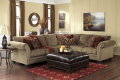 Chenille 3PC Sectional Featuring NailHead Accents +Matching ButtonTufted Oversized Chocolate Ottoman