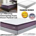 "Limited Edition 14"" Pillowtop Innerspring Foam Encased Power Packed Coil Full Mattress + Foundation"