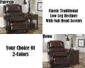 Classic Traditional Low-Leg Recliner In Espresso Or Roma Upholstery With Nail Head Accents