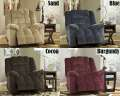 Plush Padded Contemporary Design Rocker Recliner In Your Choice Of Sand, Blue, Cocoa Or Burgundy