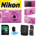 Nikon COOLPIX S3700 Digital Camera Bundle W/ Case, 8GB SDHC Card, & Cleaning Kit - Available In Pink