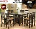 "Cappuccino Counter Height Dinette Set W/8-24"" Stools Featuring A Built-In Lazy Susan & Storage Base"