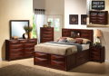 "FREE 39"" LED HDTV W/This BrownCherry Bedroom Package Featuring 8Drawer Storage W/ Bookcase/Headboard"