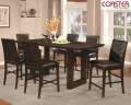 Clean Modern Design 7-Piece Counter Height Set Featuring Black Faux Leather Chairs & Cherry Finish