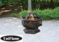 UniFlame Wood Outdoor Fireplace With Lattice Cut-Outs In A Hexagon Deep Bowl And Mesh Spark Guard