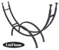 "UniFlame Contemporary Black Log Rack 43"" High x 70"" Wide Featuring Rugged Wrought Iron Construction"