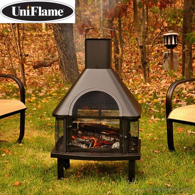 UniFlame Wood Outdoor Fireplace Featuring A Full Grate