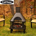 UniFlame Wood Outdoor Fireplace Featuring A Full Grate Enclosure W/Large Chimney & Slide Out Grill