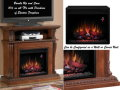 "Versatile Dual Media 23"" Electric Fireplace Mantel Fits in Corner or Wall in Vintage Cherry"