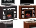 Clean, Straight Architectural Design Multi-Media Electric Fireplace in Empire Cherry or Coffee Black
