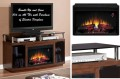 Contemporary Electric Fireplace Featuring Side Cabinets, Smoked Tempered Glass Autumn Birch Finish