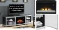 Sleek Bow Front Design Electric Fireplace Featuring Smoked Glass Shelves,High Gloss Blk Silver Finis