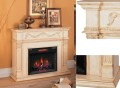 "Antique Ivory Traditional Fireplace w/28"" Insert - Slotted Molding & Reverse Breakfront Design"