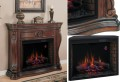 "Classic Traditional Design Electric Fireplace with Oversized 33"" Insert Featuring Serpentine Base &"