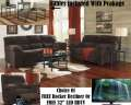 Living Rm Makeover 15PC Pkg In Plush Chocolate Offering Choice Of FREE Rckr Recliner Or 32� LED HDTV