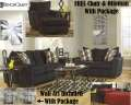 FREE Chair & Ottoman W/This 15PC Extreme Living Room Makeover Featuring Soft Chenille Ebony Fabric