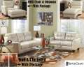 FREE Chair With Ottoman With 14-Piece Contemporary Design Blended Leather Combo Package In Taupe