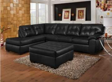Onyx Bonded Leather Match Sectional with Ottoman - Major Price Reduction - Only 1 Left