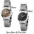 Gucci G-Timeless Stainless Steel Women's Watch With Brown Or Black Sun-Brushed Dial