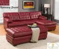 Sleek Metro Design 2PC Blended Lthr Sect In Red + Ottoman W/Button Tufting On Seat Backs & Cushions